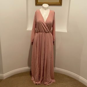 RICARICA  Long Sleeve Pink Sash-Tie Maxi…